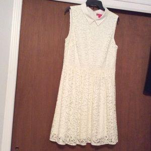 Betsy Johnson Sleeveless Lined White Lace Dress